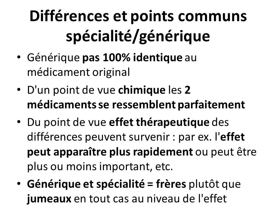 Différences et points communs spécialité/générique