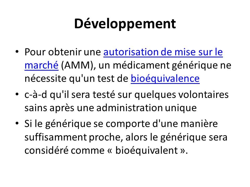 DéveloppementPour obtenir une autorisation de mise sur le marché (AMM), un médicament générique ne nécessite qu un test de bioéquivalence.