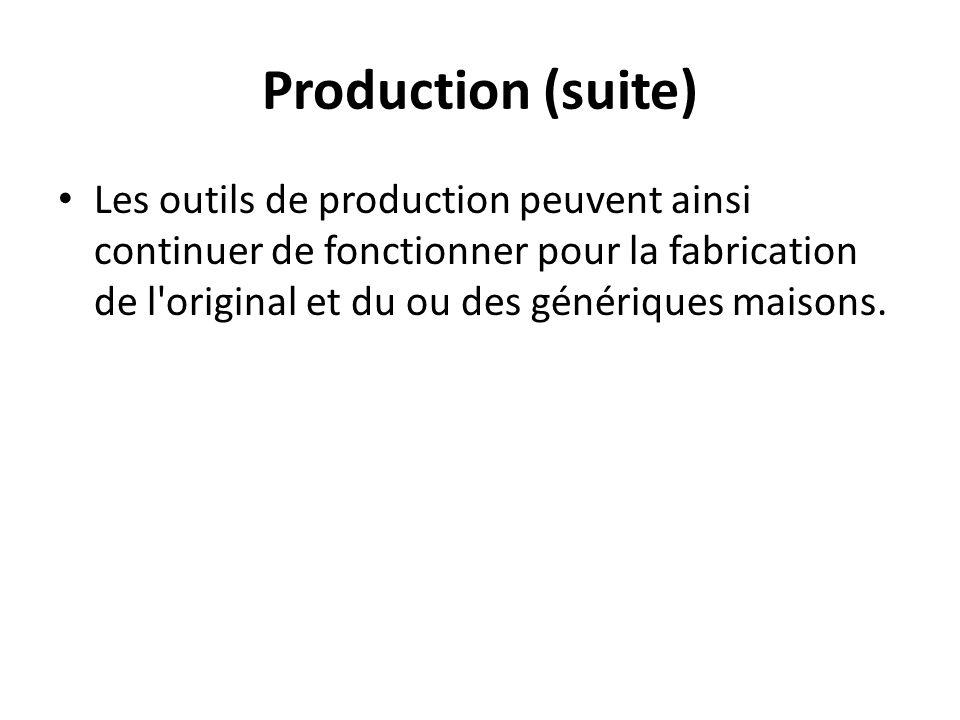 Production (suite) Les outils de production peuvent ainsi continuer de fonctionner pour la fabrication de l original et du ou des génériques maisons.