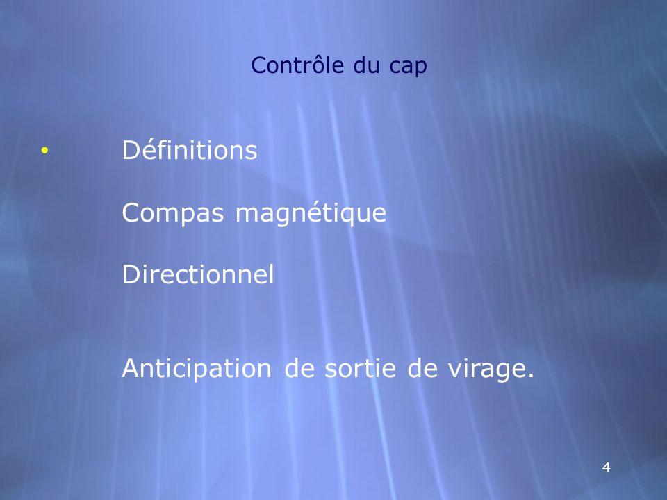 Contrôle du cap Définitions Compas magnétique Directionnel Anticipation de sortie de virage.