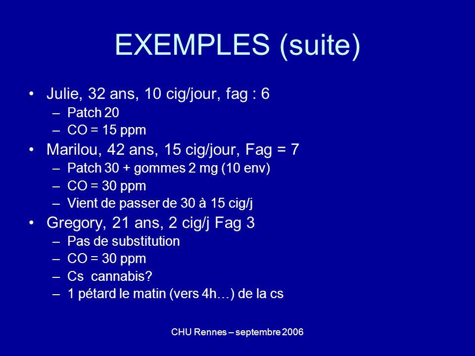 EXEMPLES (suite) Julie, 32 ans, 10 cig/jour, fag : 6