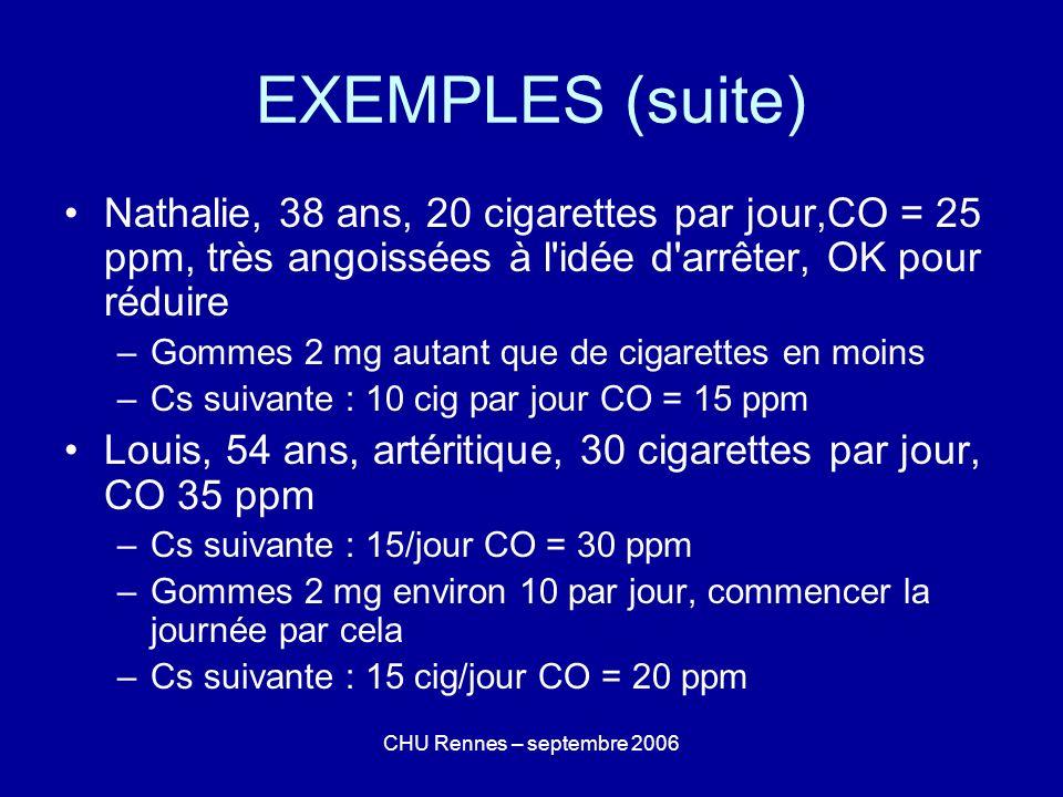 EXEMPLES (suite)Nathalie, 38 ans, 20 cigarettes par jour,CO = 25 ppm, très angoissées à l idée d arrêter, OK pour réduire.