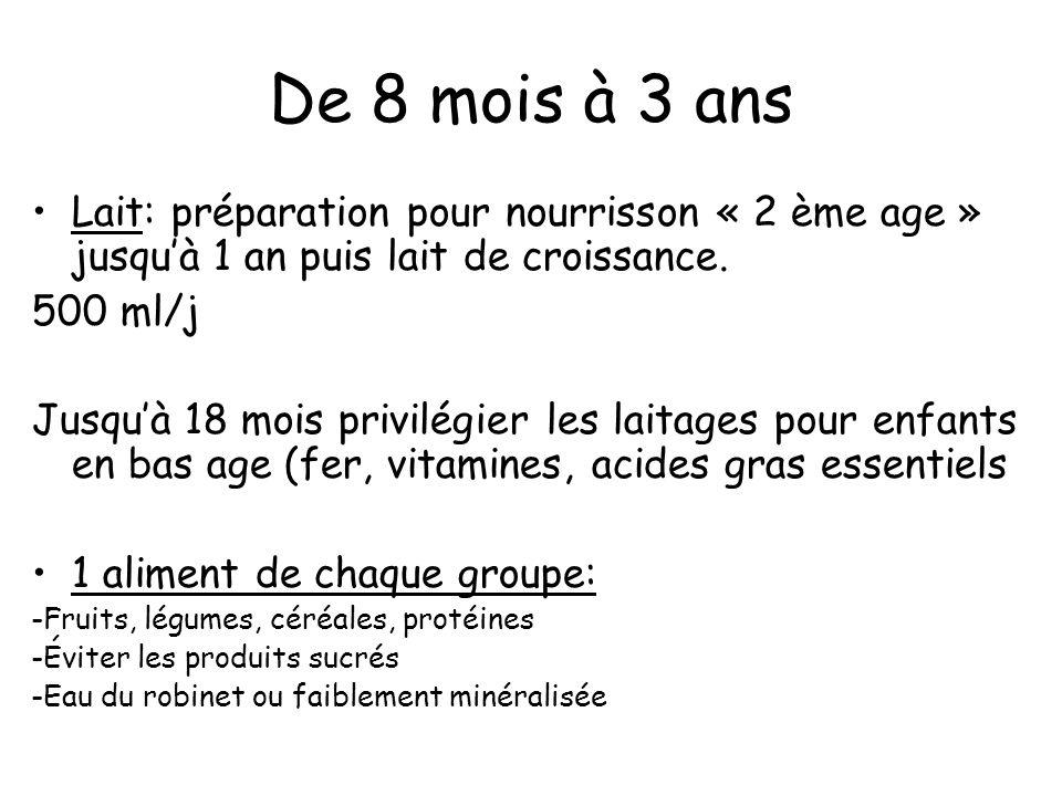 De 8 mois à 3 ansLait: préparation pour nourrisson « 2 ème age » jusqu'à 1 an puis lait de croissance.