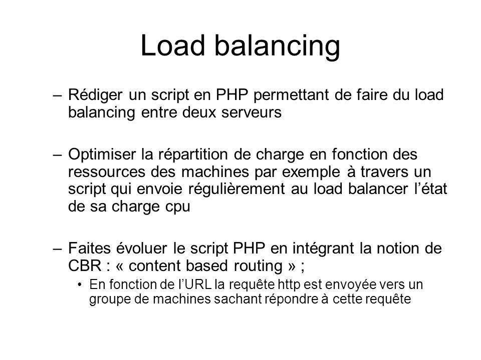 Load balancing Rédiger un script en PHP permettant de faire du load balancing entre deux serveurs.