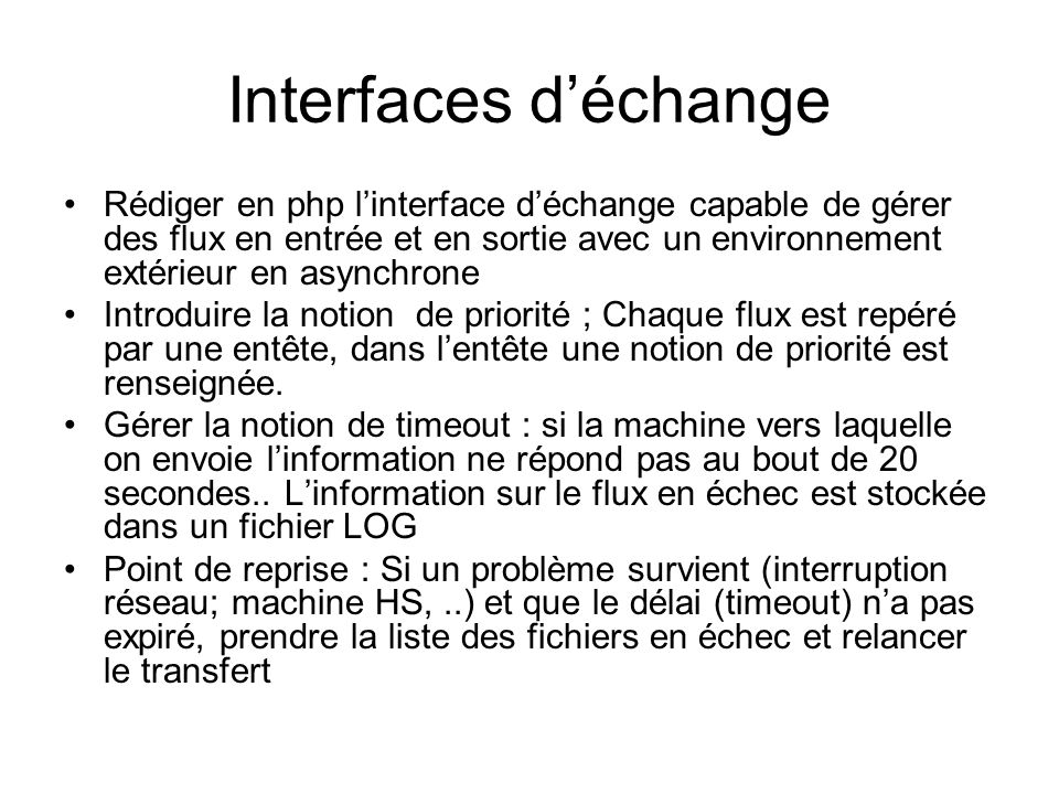 Interfaces d'échange