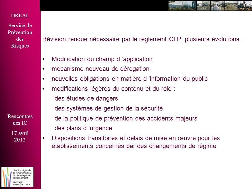 Révision rendue nécessaire par le règlement CLP; plusieurs évolutions :