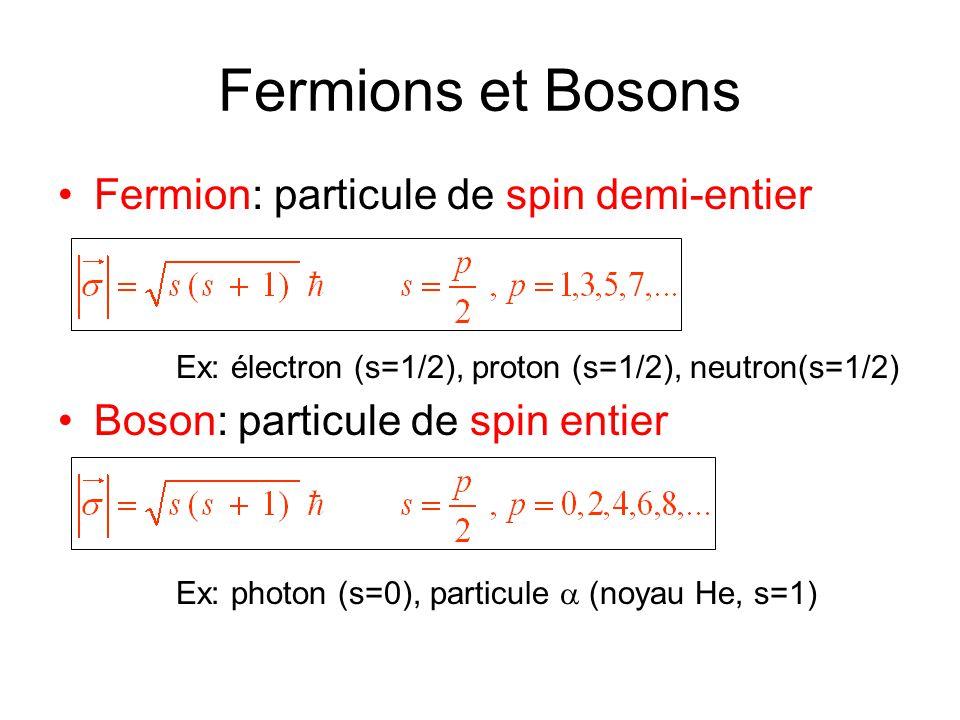 Fermions et Bosons Fermion: particule de spin demi-entier
