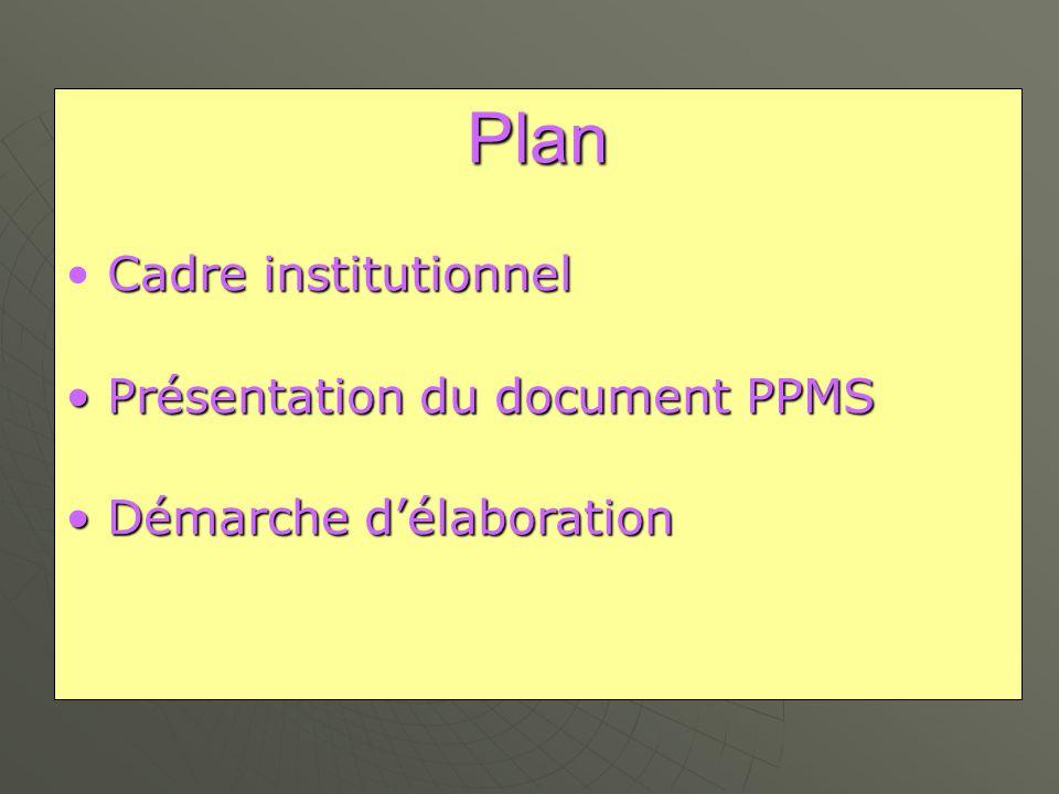Plan Cadre institutionnel Présentation du document PPMS