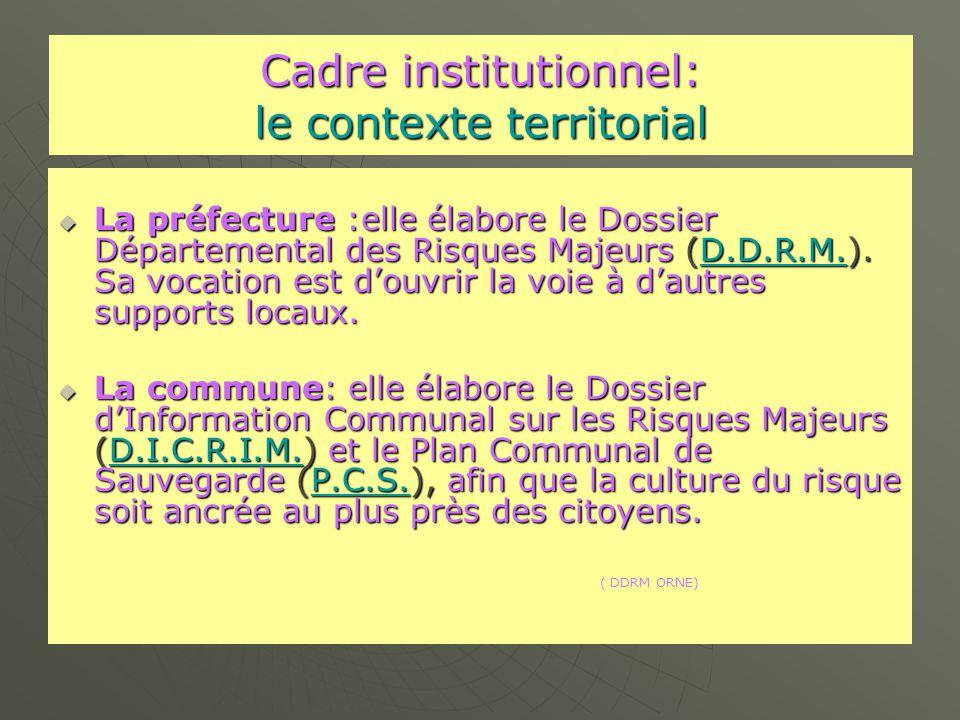 Cadre institutionnel: le contexte territorial