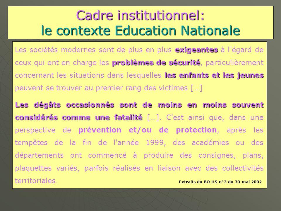 Cadre institutionnel: le contexte Education Nationale