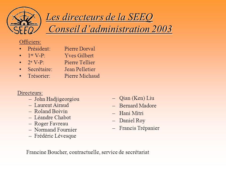 Les directeurs de la SEEQ Conseil d'administration 2003