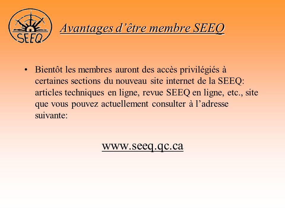Avantages d'être membre SEEQ