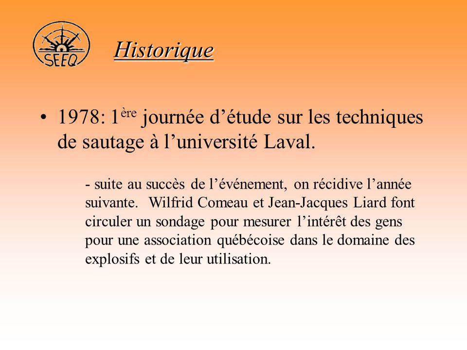Historique 1978: 1ère journée d'étude sur les techniques de sautage à l'université Laval.