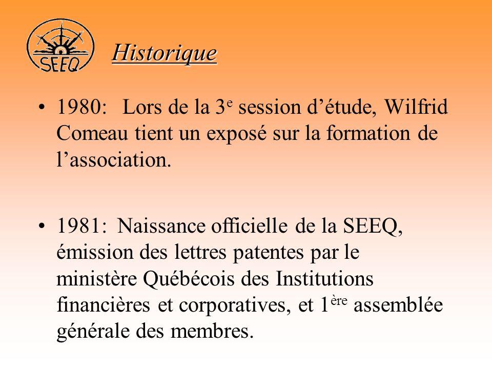 Historique 1980: Lors de la 3e session d'étude, Wilfrid Comeau tient un exposé sur la formation de l'association.