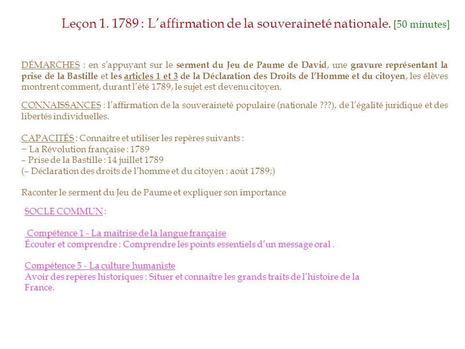 Leçon 1. 1789 : L'affirmation de la souveraineté nationale