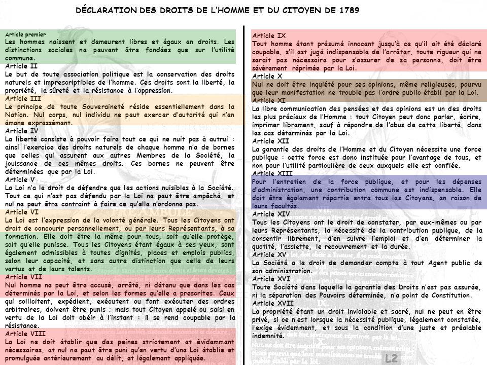 L2 DÉCLARATION DES DROITS DE L'HOMME ET DU CITOYEN DE 1789 Article IX