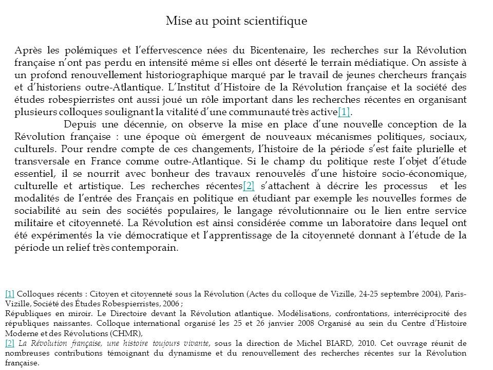 Mise au point scientifique