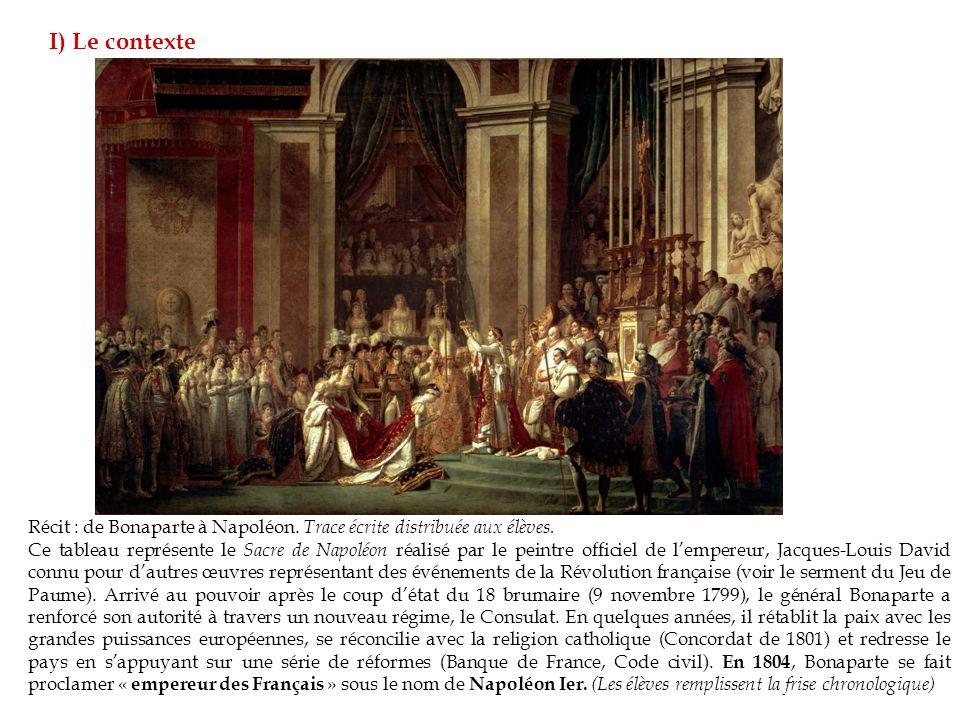 I) Le contexte Récit : de Bonaparte à Napoléon. Trace écrite distribuée aux élèves.