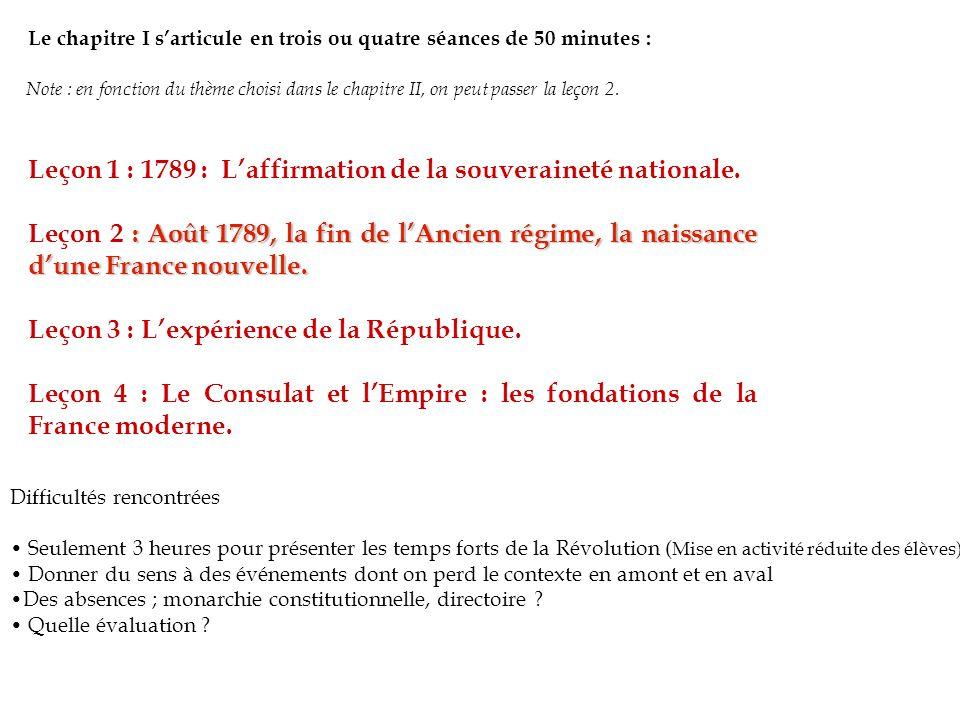 Leçon 1 : 1789 : L'affirmation de la souveraineté nationale.