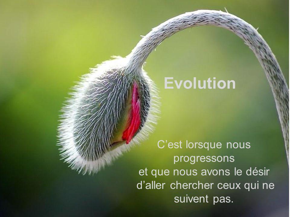 Evolution C'est lorsque nous progressons et que nous avons le désir
