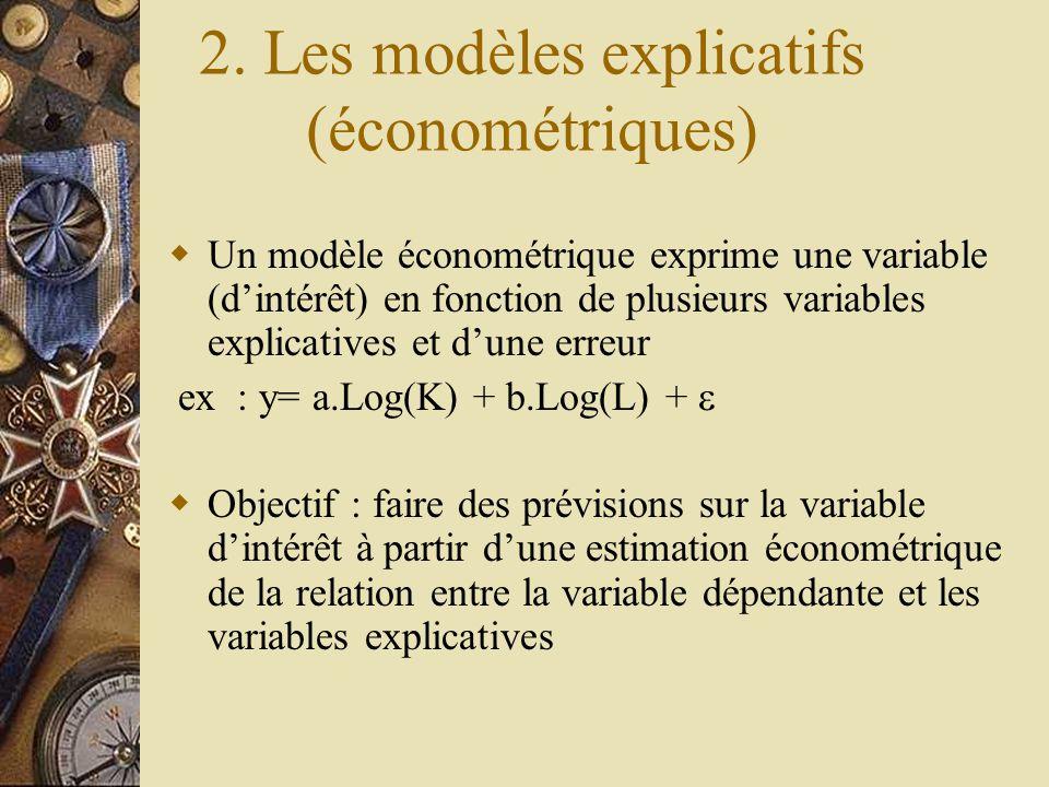 2. Les modèles explicatifs (économétriques)