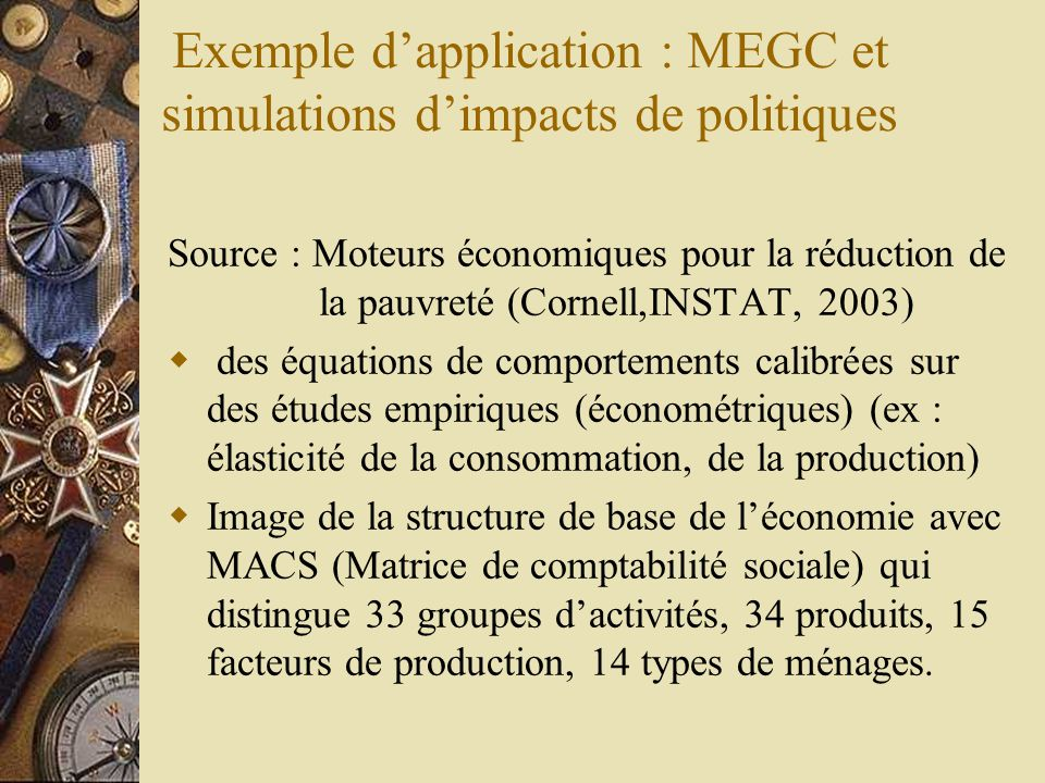 Exemple d'application : MEGC et simulations d'impacts de politiques