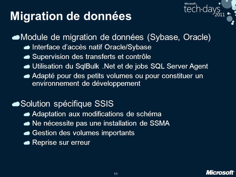 Migration de données Module de migration de données (Sybase, Oracle)