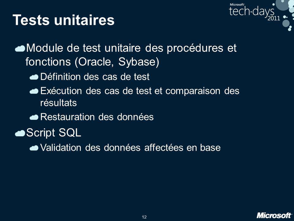 Tests unitaires Module de test unitaire des procédures et fonctions (Oracle, Sybase) Définition des cas de test.