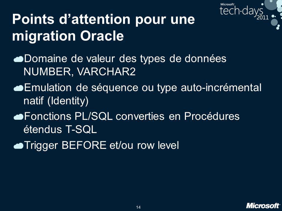 Points d'attention pour une migration Oracle