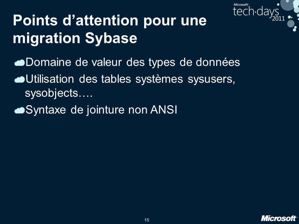 Points d'attention pour une migration Sybase
