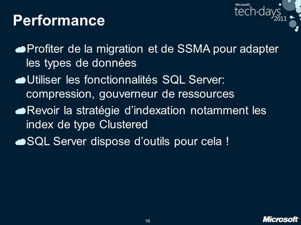 Performance Profiter de la migration et de SSMA pour adapter les types de données.