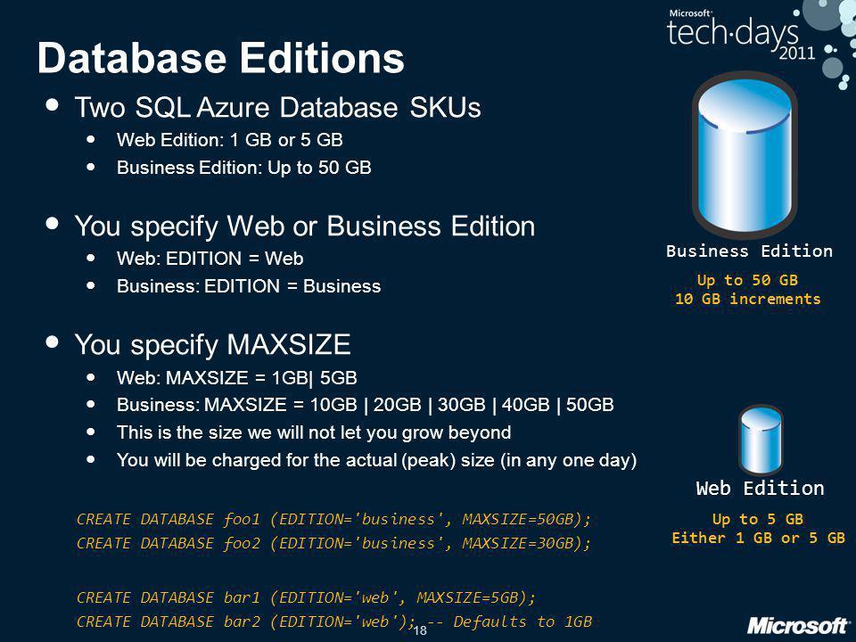 Database Editions Two SQL Azure Database SKUs