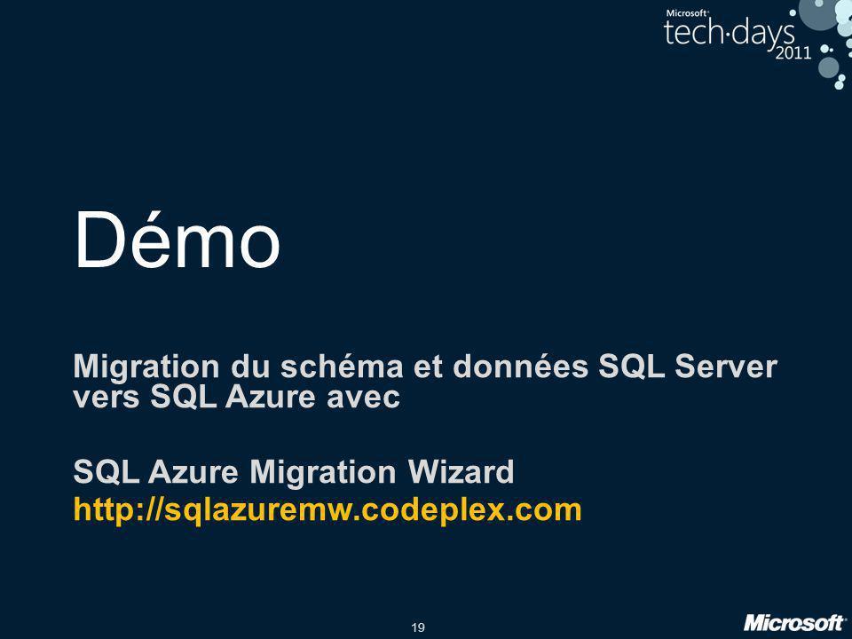 Démo Migration du schéma et données SQL Server vers SQL Azure avec