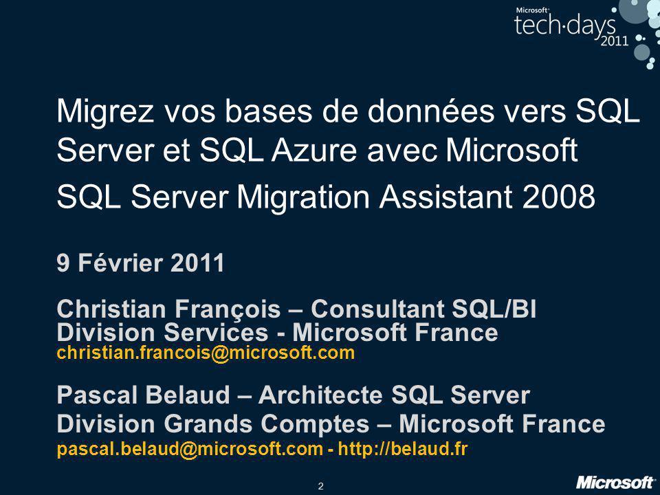 Migrez vos bases de données vers SQL Server et SQL Azure avec Microsoft SQL Server Migration Assistant 2008