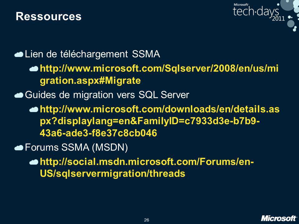 Ressources Lien de téléchargement SSMA