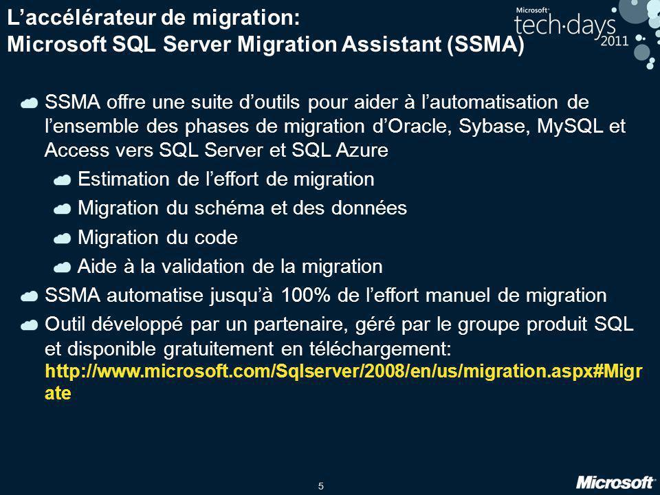 L'accélérateur de migration: Microsoft SQL Server Migration Assistant (SSMA)
