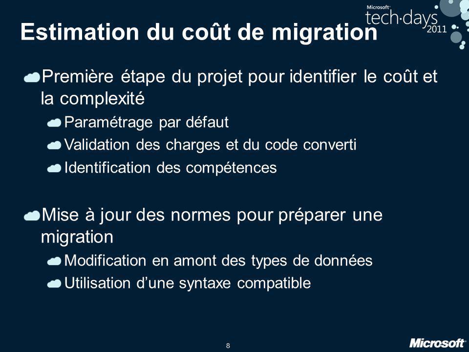 Estimation du coût de migration