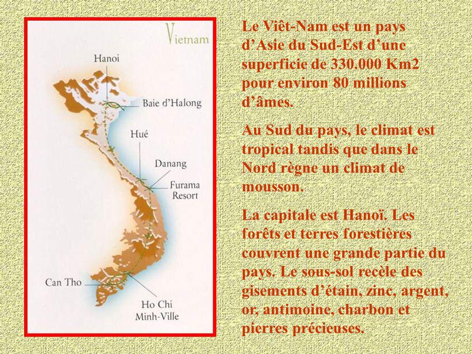 Le Viêt-Nam est un pays d'Asie du Sud-Est d'une superficie de 330