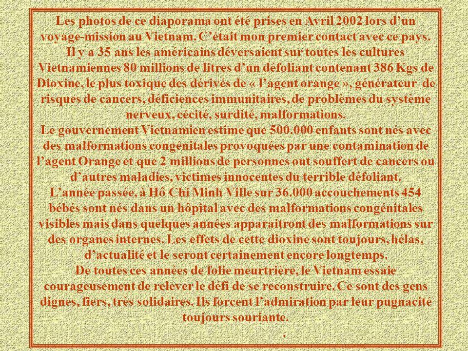 Les photos de ce diaporama ont été prises en Avril 2002 lors d'un voyage-mission au Vietnam. C'était mon premier contact avec ce pays. Il y a 35 ans les américains déversaient sur toutes les cultures Vietnamiennes 80 millions de litres d'un défoliant contenant 386 Kgs de Dioxine, le plus toxique des dérivés de « l'agent orange », générateur de risques de cancers, déficiences immunitaires, de problèmes du système nerveux, cécité, surdité, malformations.