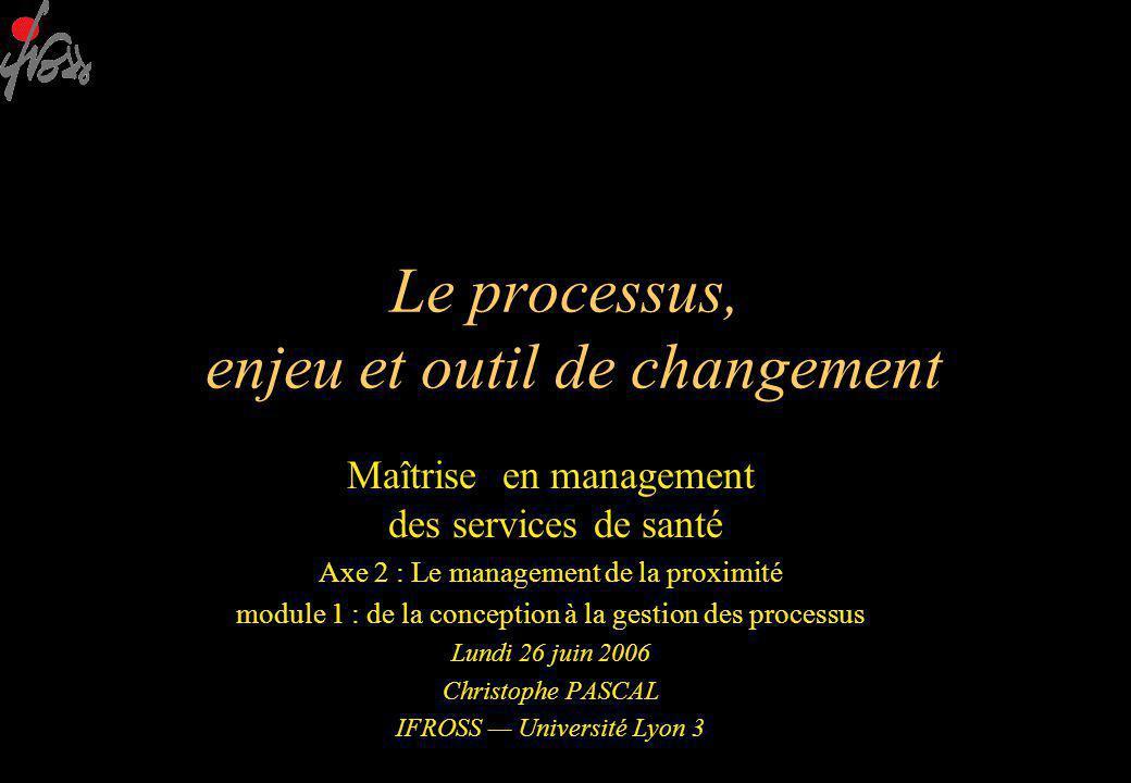 Le processus, enjeu et outil de changement