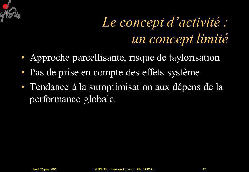 Le concept d'activité : un concept limité
