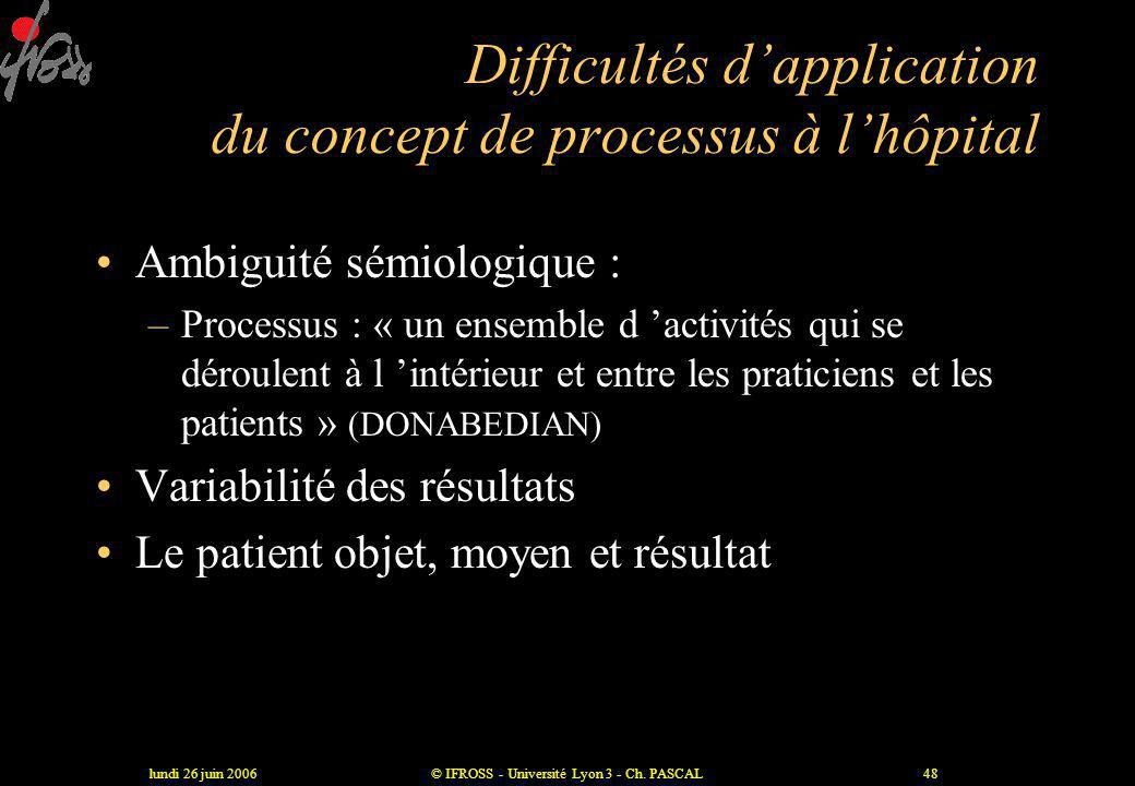 Difficultés d'application du concept de processus à l'hôpital