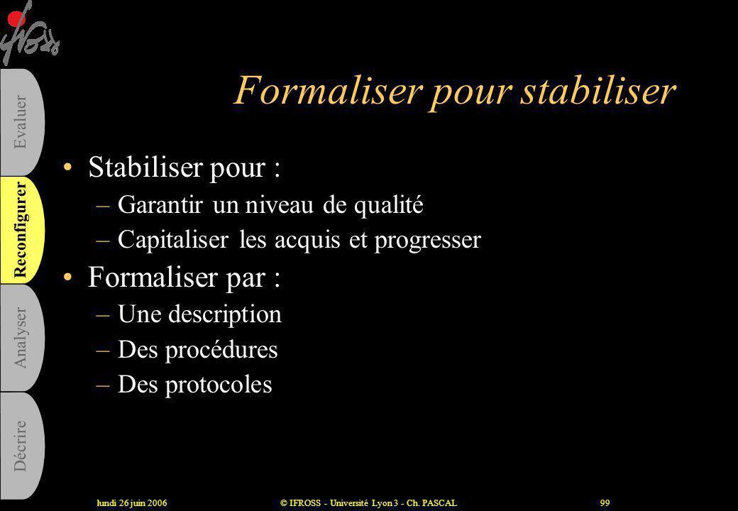 Formaliser pour stabiliser