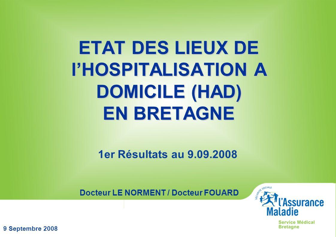 ETAT DES LIEUX DE l'HOSPITALISATION A DOMICILE (HAD) EN BRETAGNE