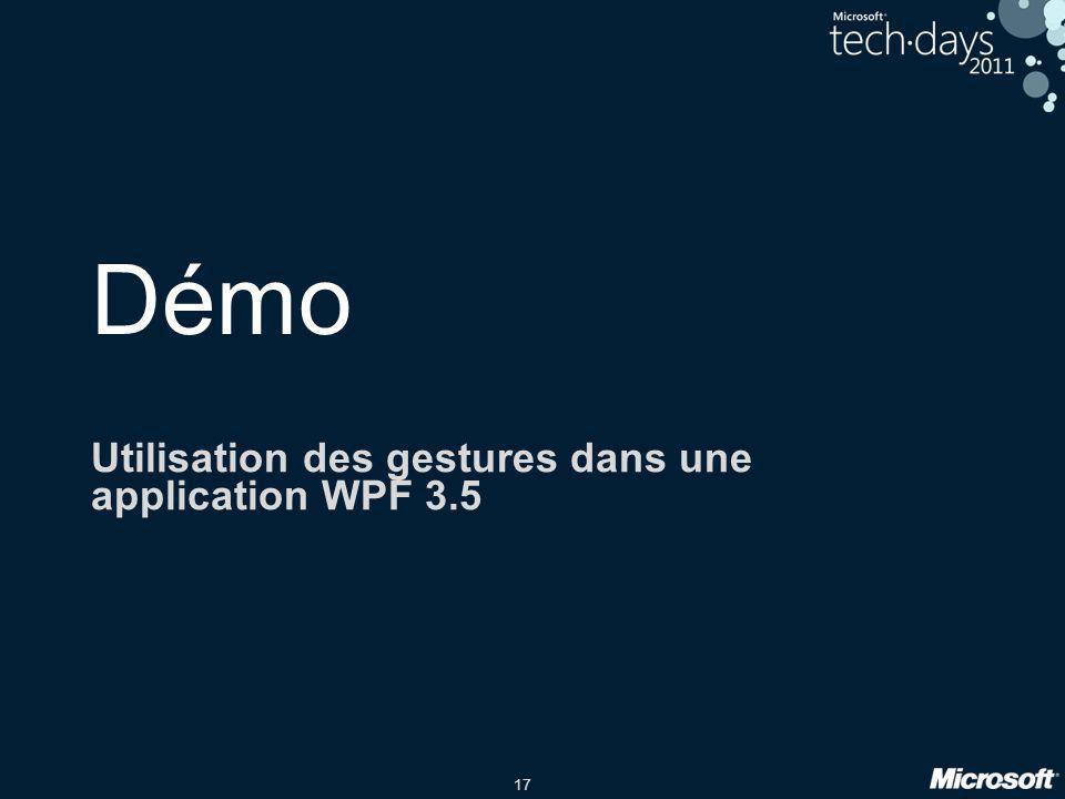 Utilisation des gestures dans une application WPF 3.5