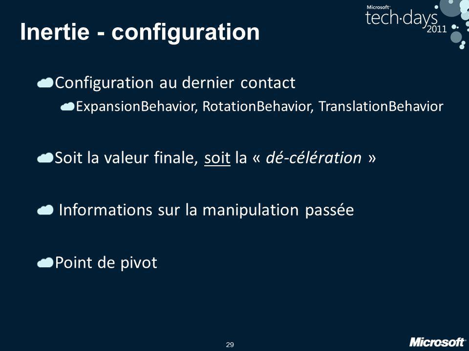 Inertie - configuration