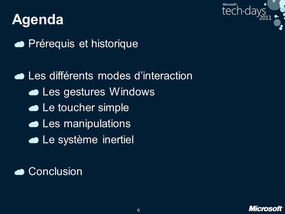 Agenda Prérequis et historique Les différents modes d'interaction