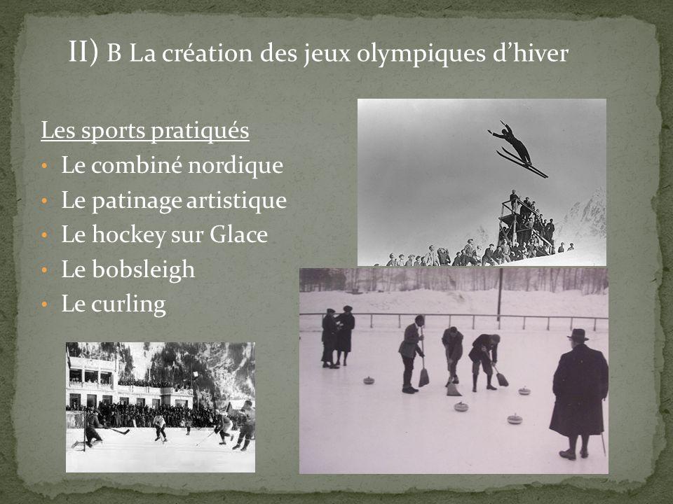 II) B La création des jeux olympiques d'hiver