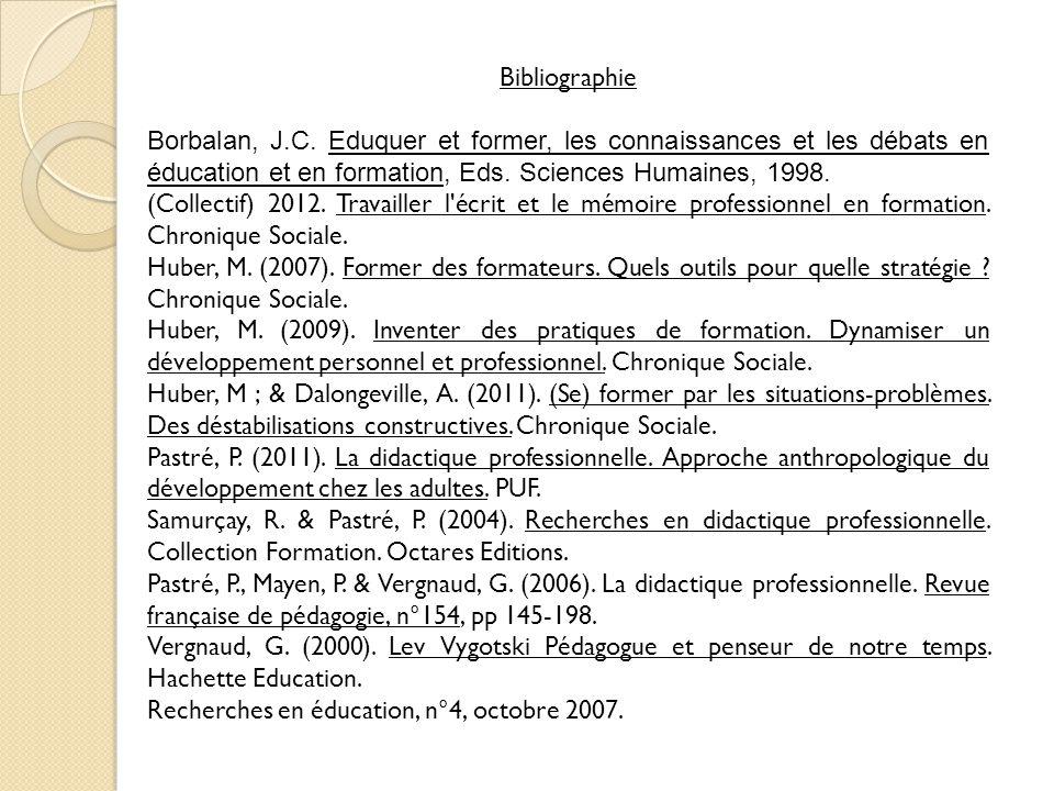 Bibliographie Borbalan, J.C. Eduquer et former, les connaissances et les débats en éducation et en formation, Eds. Sciences Humaines, 1998.