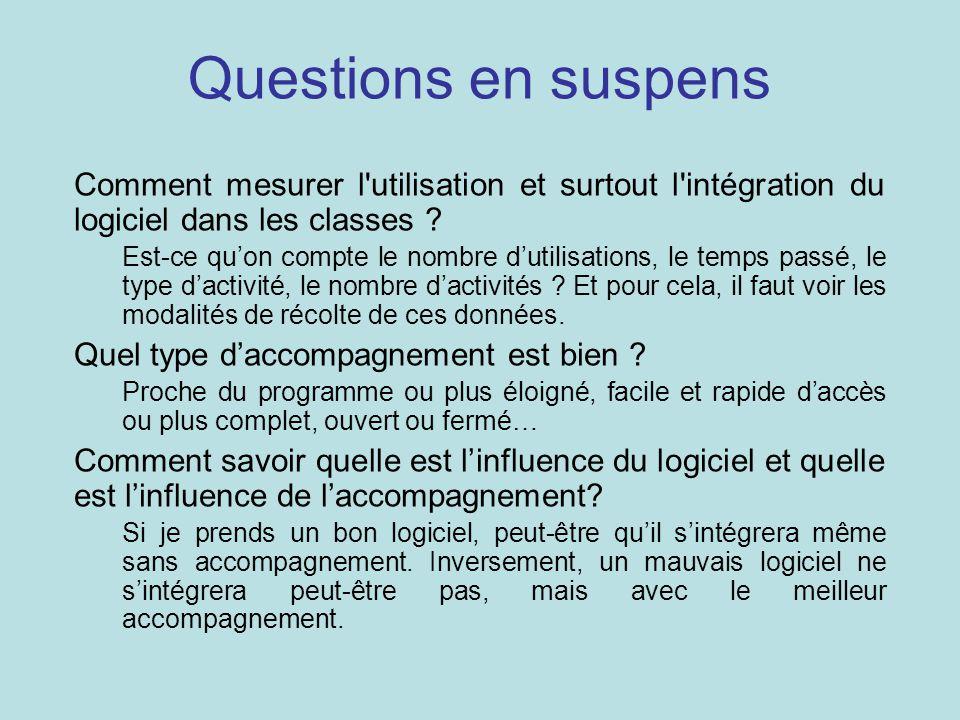 Questions en suspens Comment mesurer l utilisation et surtout l intégration du logiciel dans les classes